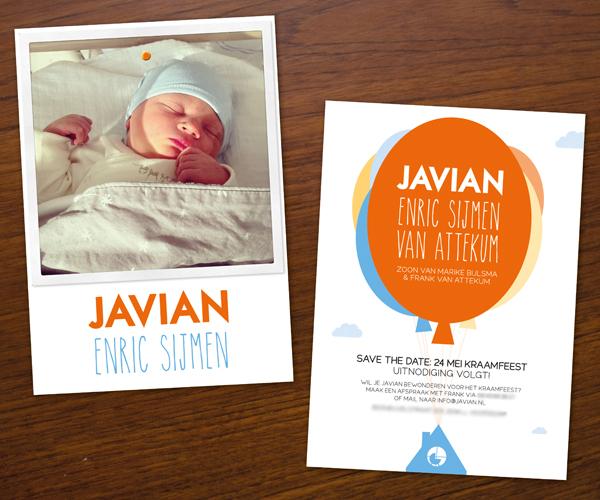 Geboortekaartje van Javian